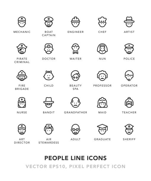 People Line Icons vector art illustration