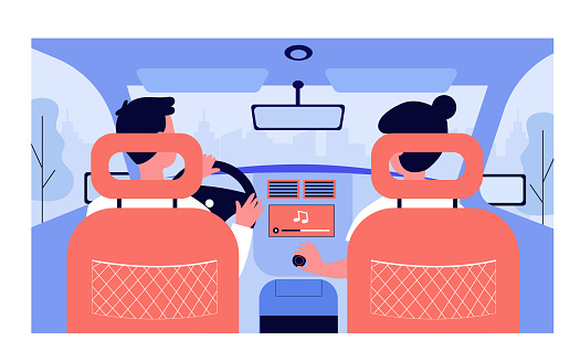 People listening to music while travelling by car