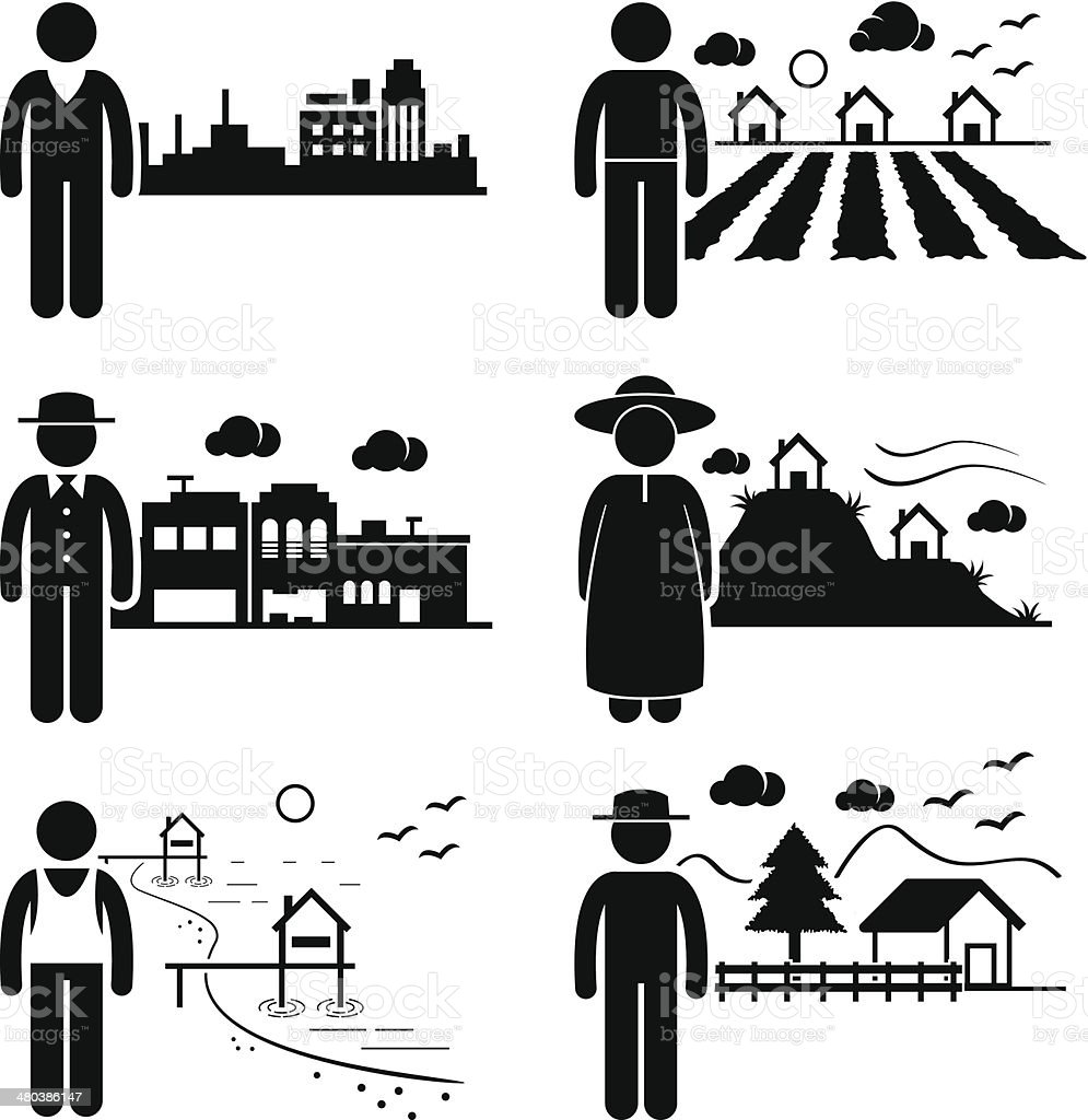 People Living in Different Locations and Regions vector art illustration