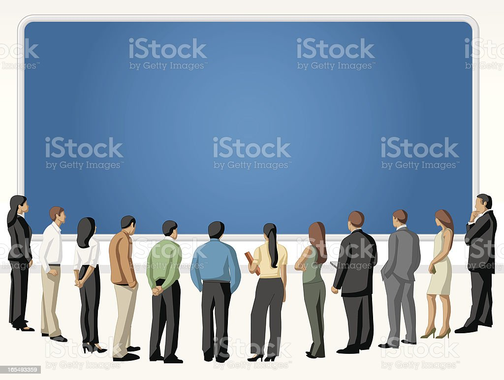 people looking blue screen vector art illustration