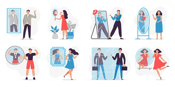 People looking in mirror. Love and proud yourself, man happy to see reflection in mirror and motivation vector illustration
