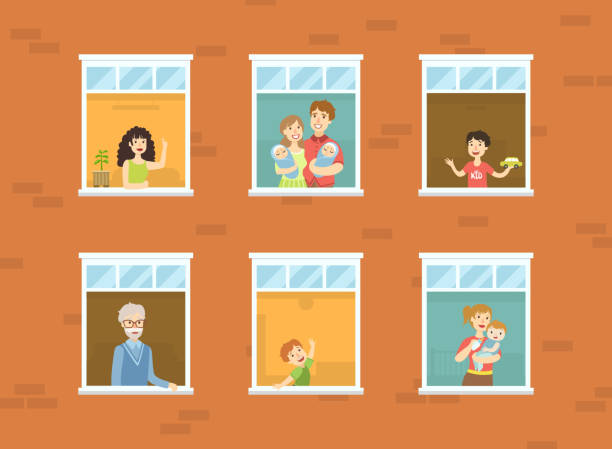 illustrazioni stock, clip art, cartoni animati e icone di tendenza di people looking out of windows set, neighbors in their apartments greeting through the windows vector illustration - gemelle