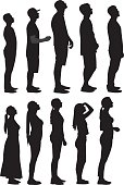 Vector silhouettes of a group of people standing in line, looking up.