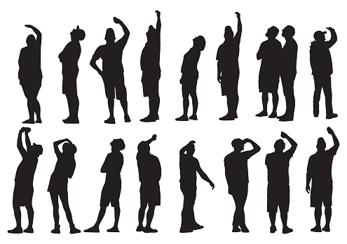 People Looking Up Silhouettes