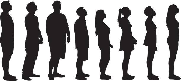 illustrazioni stock, clip art, cartoni animati e icone di tendenza di people looking up silhouettes - queue