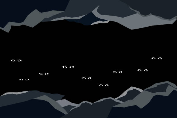people lost in darkened caves - lost stock illustrations