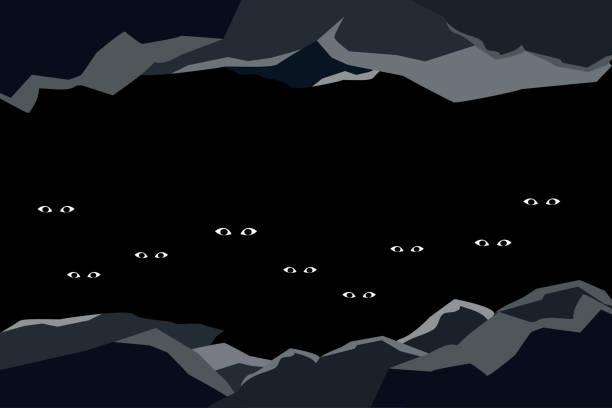 어두운된 동굴에서 잃어버린 사람들 - lost stock illustrations