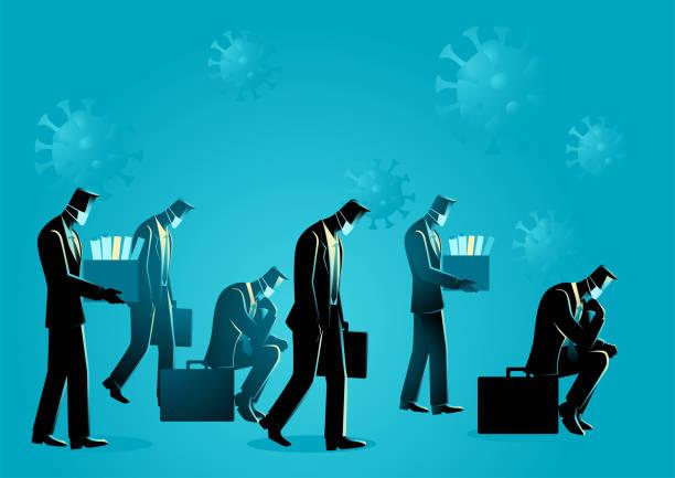사람들은 코로나 바이러스로 인해 직장을 잃었습니다. - lost stock illustrations