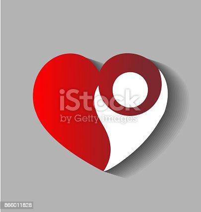 Love heart figure logo vector charity concept icon