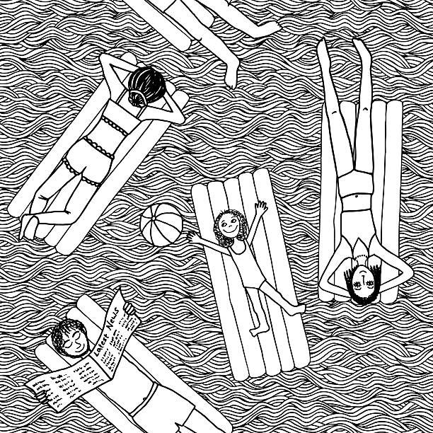 stockillustraties, clipart, cartoons en iconen met people lying on air mattresses in the swimming pool - newspaper beach