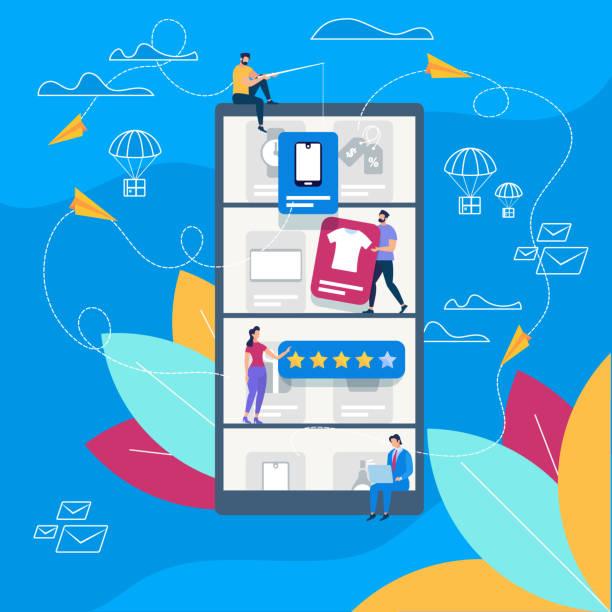 ilustrações de stock, clip art, desenhos animados e ícones de people making online shopping. delivery service - online shopping