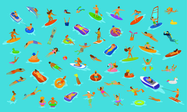 illustrazioni stock, clip art, cartoni animati e icone di tendenza di people man and woman, girls and boys swimming in floats mattress, diving into sea, water, pool or ocean. summer beach vacations scenes constructor with fun cartoon humans collection over blue background - nuoto mare
