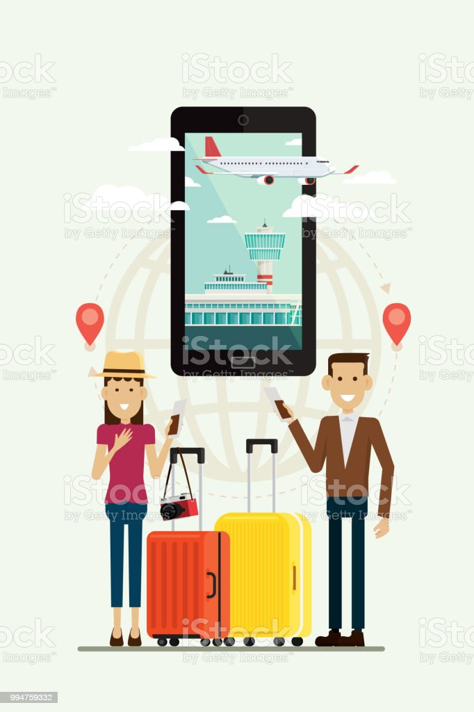 People Man And Woman With Suitcases Travel And Plane Path To Goal On