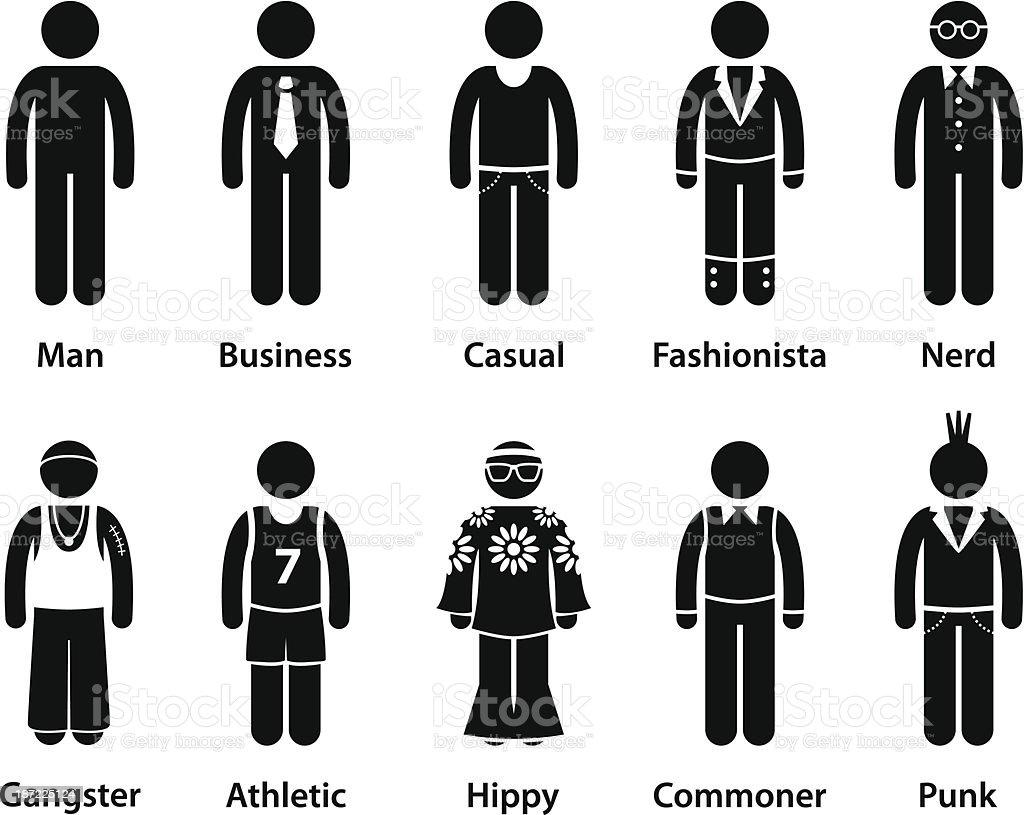 People Man Human Character Type Stick Figure Pictogram vector art illustration