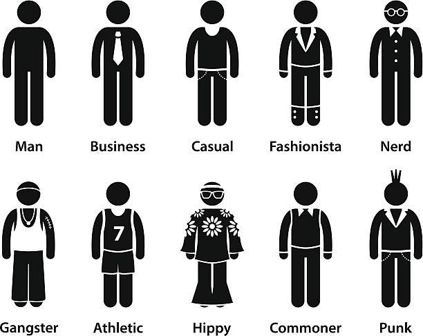 Hombre de la gente de carácter humano tipo Stick Figura Pictograma - ilustración de arte vectorial