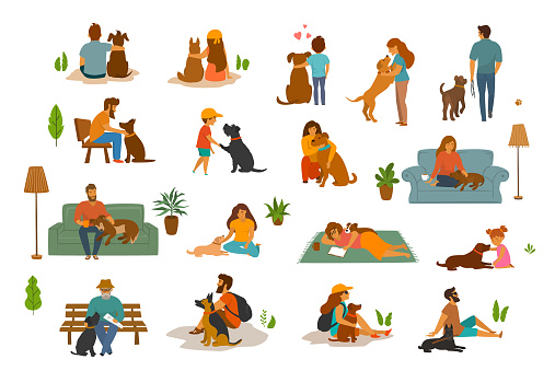 people man woman, adults and children with dogs scenes set, humans and their beloved pets at home, in the park, traveling together. Best friends cute cartoon graphics