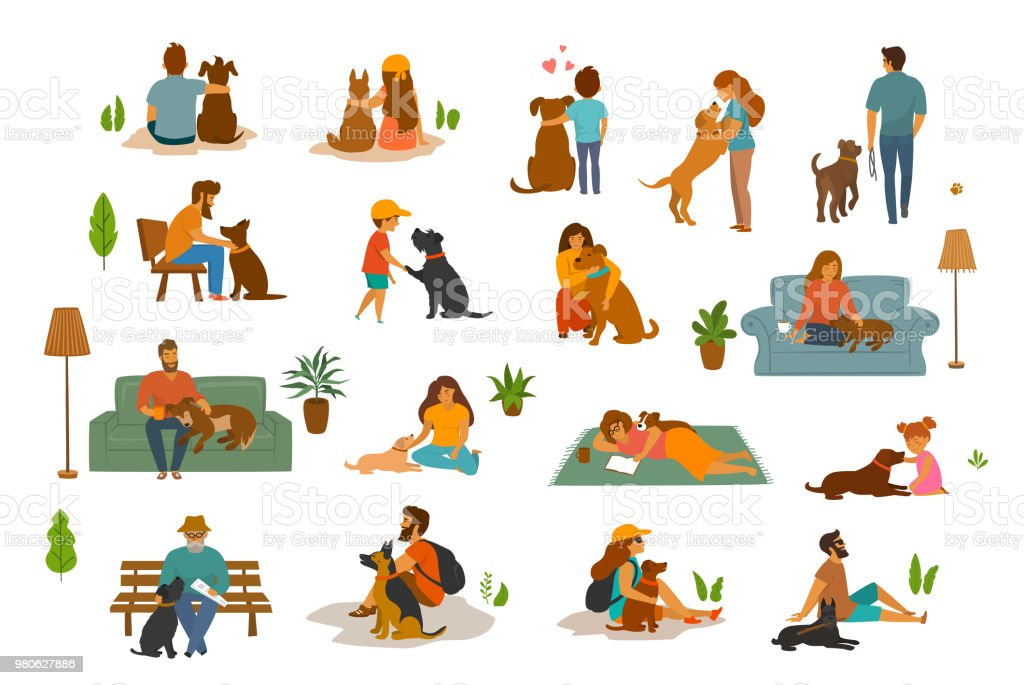 people man woman, adults and children with dogs scenes set, humans and their beloved pets at home, in the park, traveling together. Best friends cute cartoon graphics vector art illustration