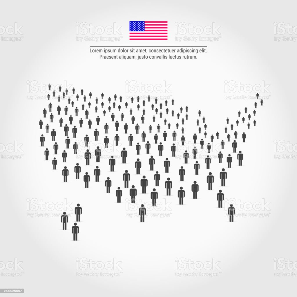 USA People Map. Map of the United States Made Up of a Crowd of People Icons vector art illustration