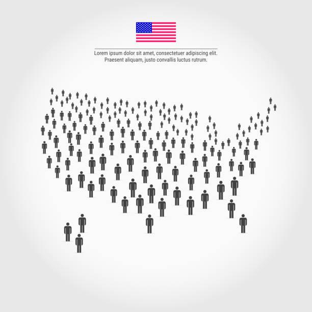 illustrations, cliparts, dessins animés et icônes de carte de gens usa. carte des états-unis composé d'une foule de gens icônes - infographie de démographie