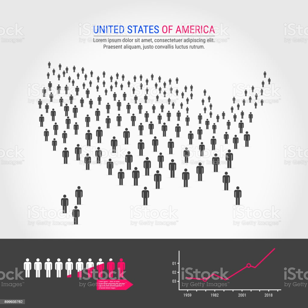 USA People Map. Population Growth Infographic Elements. USA People Map. Map of the United States Made Up of a Crowd of People Icons. Background for Presentation - Advertising - Marketing - Poster - Infographic. Population Growth Infographic Elements. American Culture stock vector