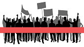 angry people marching, silhouette vector