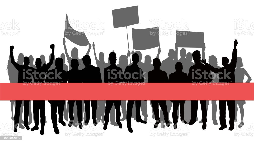people marching, silhouette vector vector art illustration