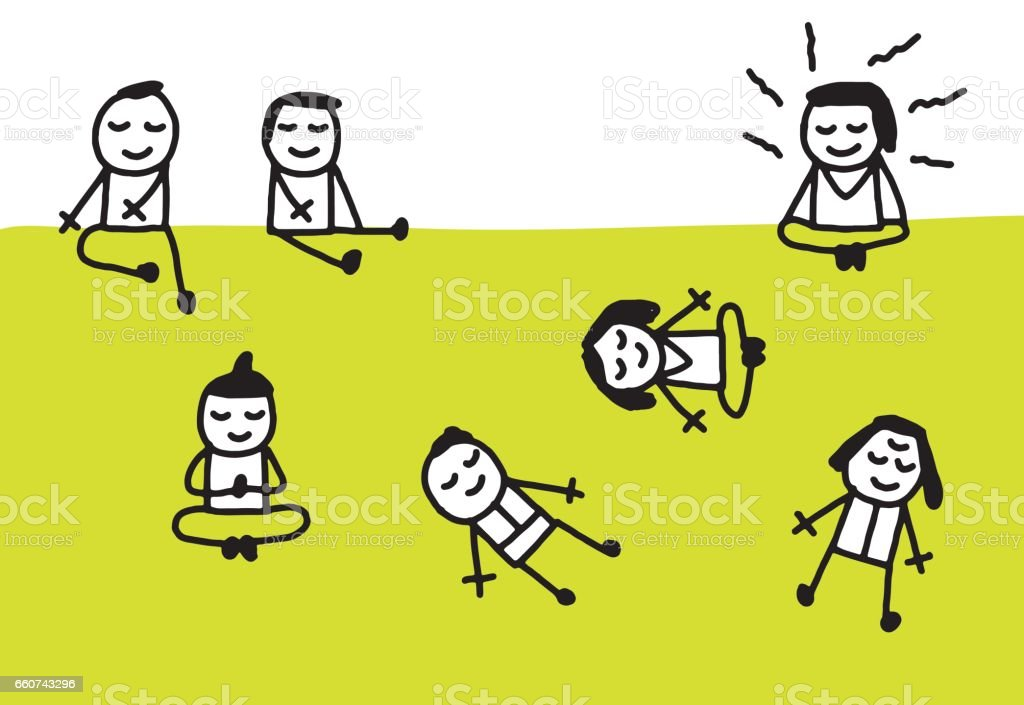 People meditating, praying, laying down at the park vector art illustration