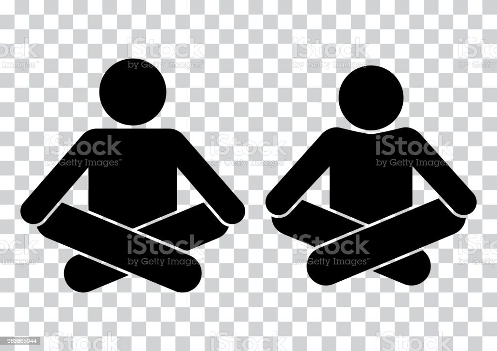 People. Meditation. Yoga icon. Black silhouettes on transparent background. Vector illustration - Royalty-free Black Color stock vector