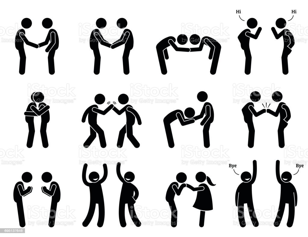 People Meeting and Greeting Gestures Etiquette. vector art illustration