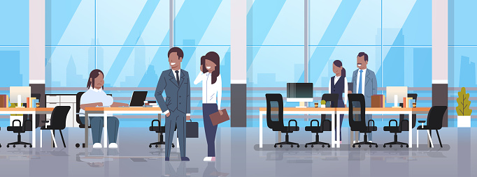 people meeting in co-working office fat obese woman sitting workplace african businesspeople discussing with overweight female boss modern workspace interior horizontal full length