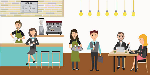 people meeting in the coffee shop infographics elements.illustra - barista stock illustrations, clip art, cartoons, & icons