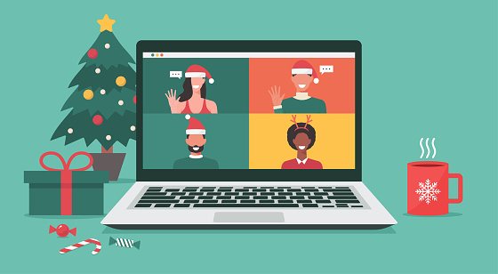 people meeting online together via video conference on a laptop on Christmas holiday