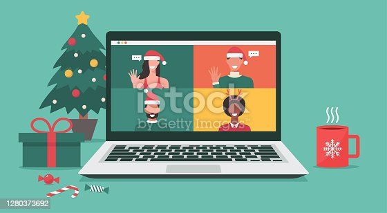people meeting online together via video conference on a laptop to virtual discussion on Christmas holiday and decorate with Christmas tree, gift, candy, and cup, vector illustration
