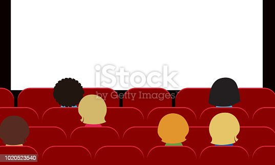 People - men, women and children sitting in movie theater on red seats and watching blank white projection screen with space for your text - vector, flat design