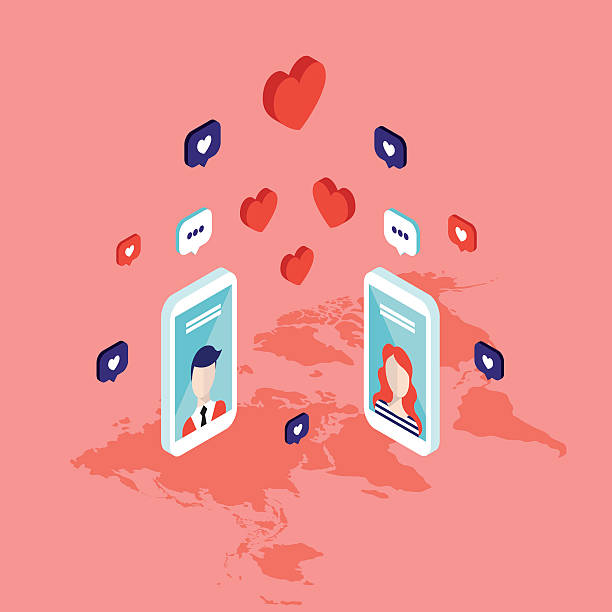 People messaging on St Valentines day Social network People messaging on St Valentines day Modern isometric flat style Social network and communication concept Vector illustration online dating stock illustrations
