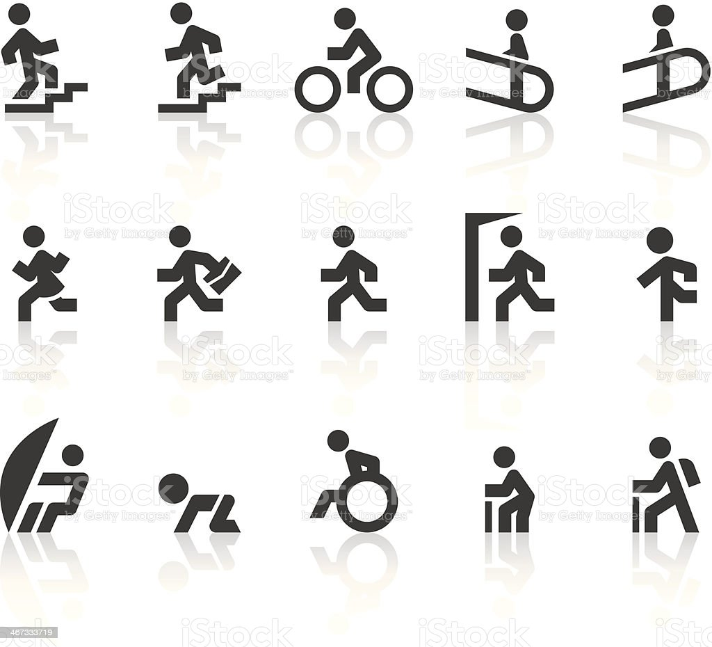People Moving Icons | Simple Black Series vector art illustration