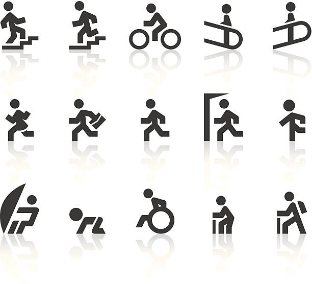 people moving icons | simple black series - wheelchair sports stock illustrations, clip art, cartoons, & icons