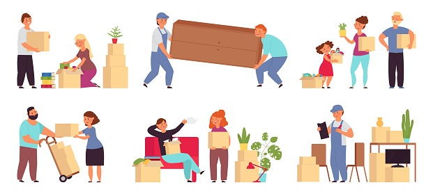 People moving in new home. Help transportation, delivery company move sofa. Couple relocation, family with packages and furniture decent vector set