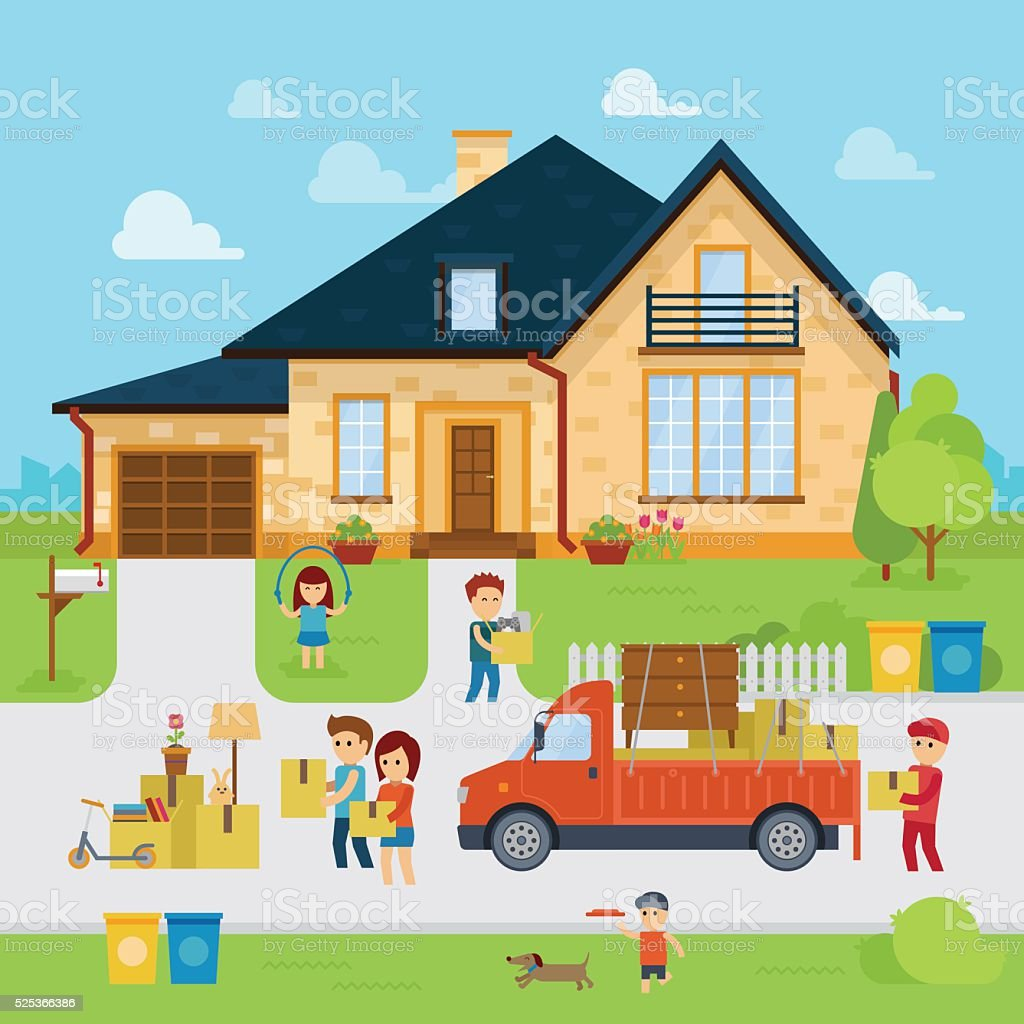 People moving into a new home vector art illustration