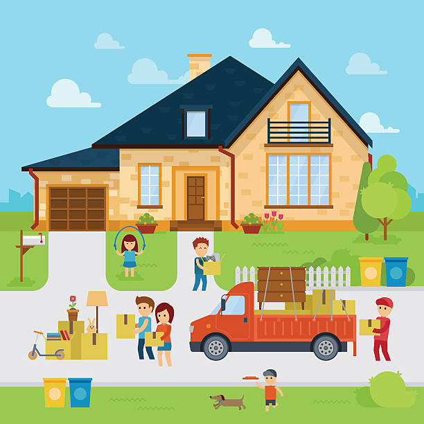 people moving into a new home - new home stock illustrations, clip art, cartoons, & icons