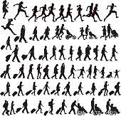 People Moving - walking, running, traveling, crawling, jogging, exercising, talking