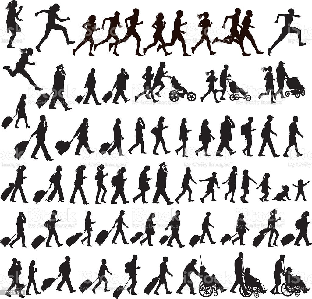 People Moving - walking, running, traveling, crawling, jogging, exercising, talking vector art illustration