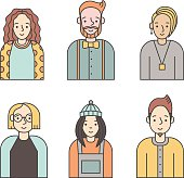 People multicolored icons vector set (men and women). Modern minimalistic design. Part six.