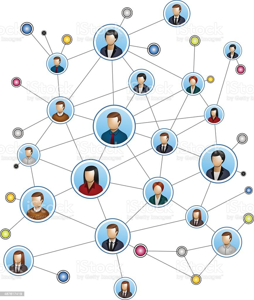 People network background white vector art illustration