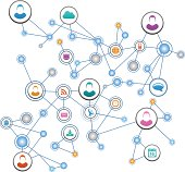 People network background with communication icons.
