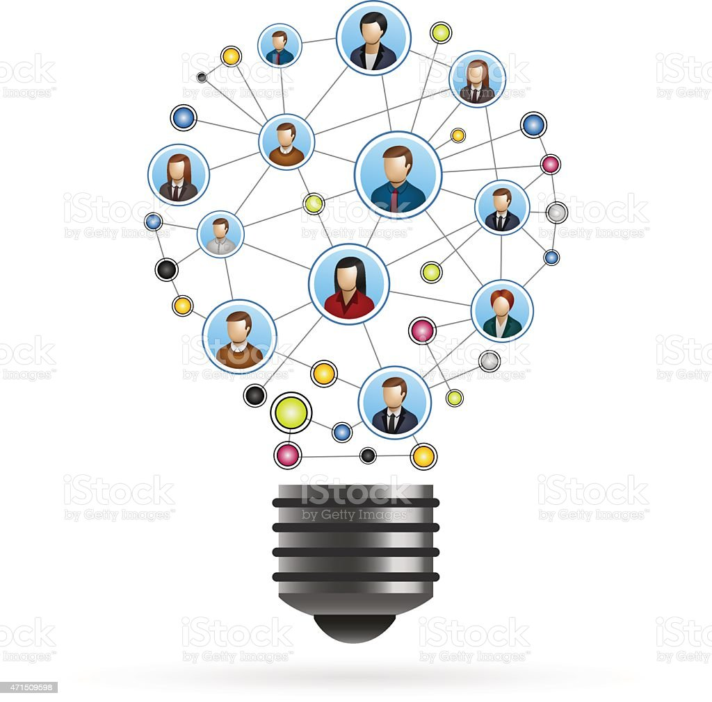 People network light bulb illustrations made of icons vector art illustration