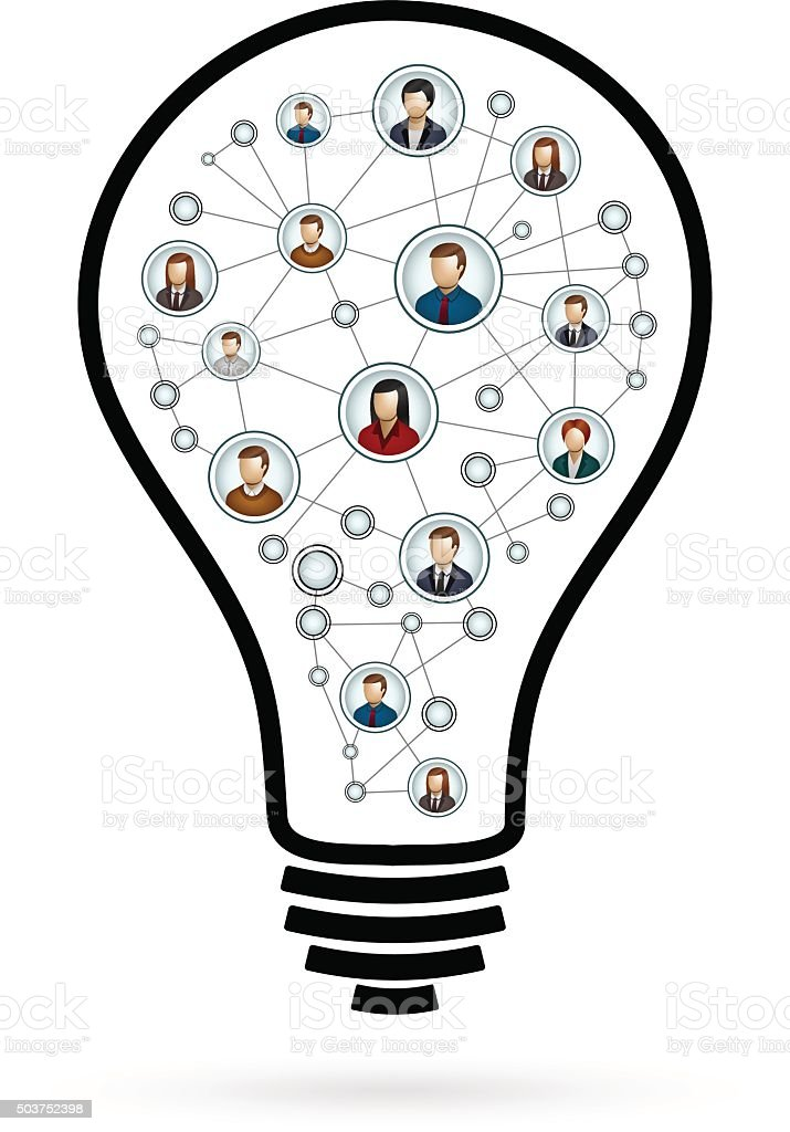 People Network Light Bulb Illustrations Made Of Icons Stock Vector ...
