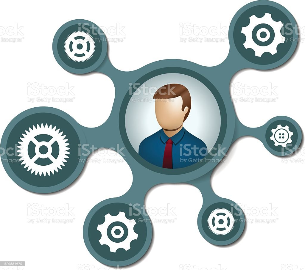 People network with gears on metaballs background vector art illustration