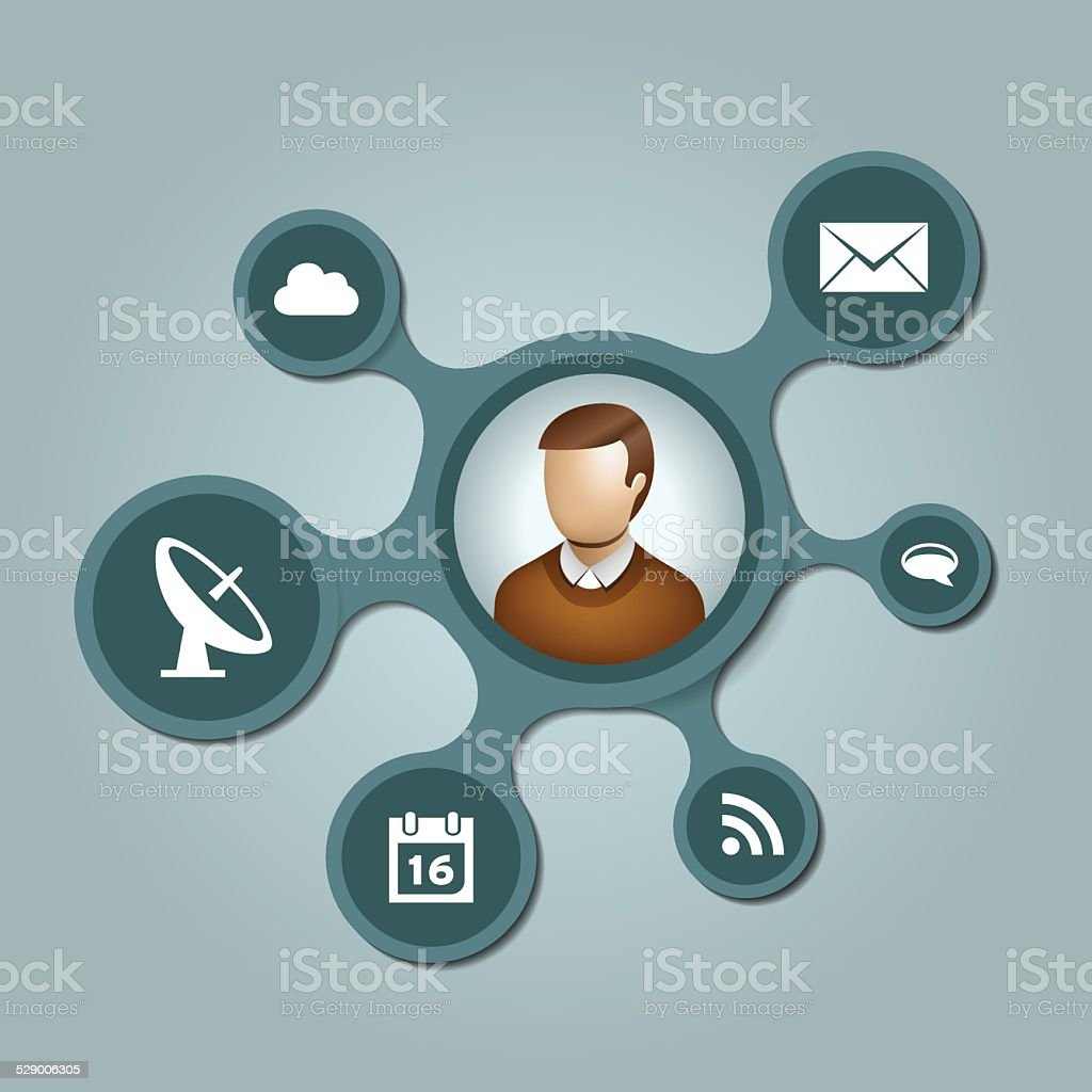 People network with metaballs background vector art illustration