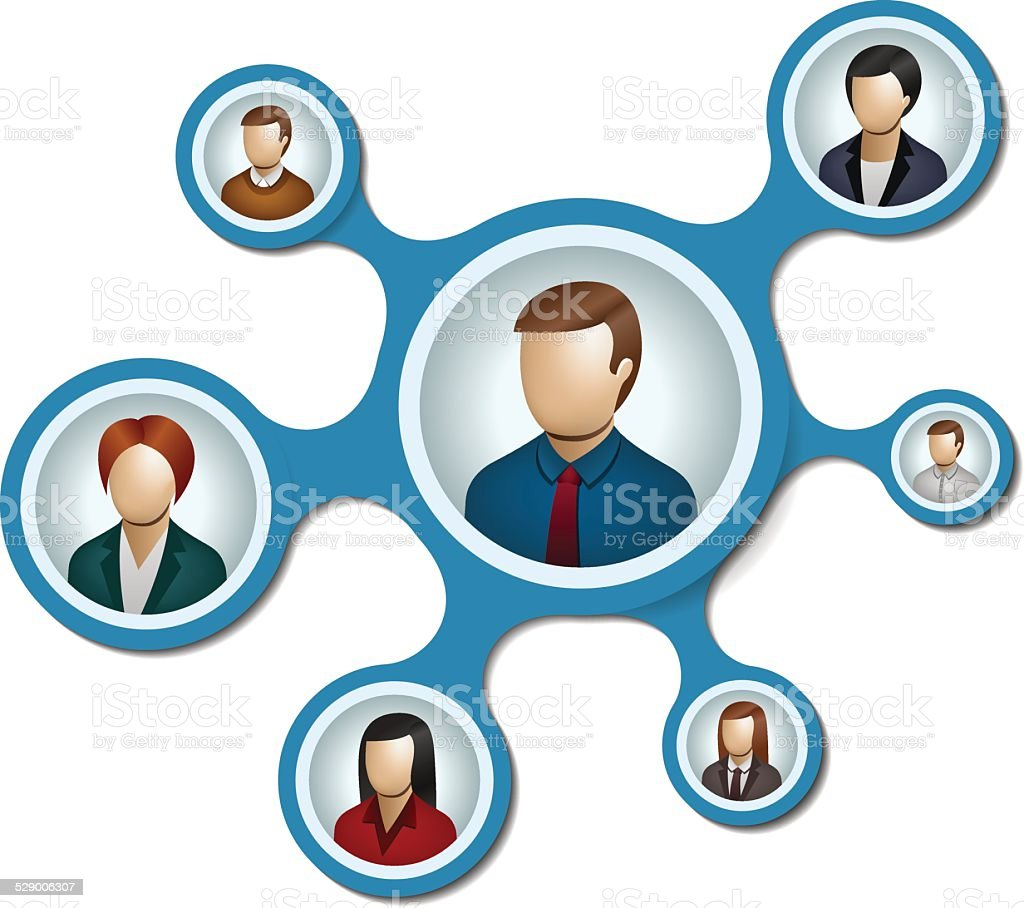 People network with metaballs on white background vector art illustration